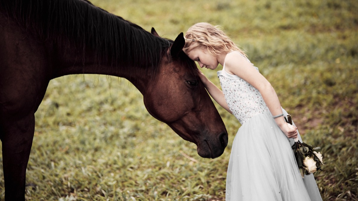 country wedding children and animals